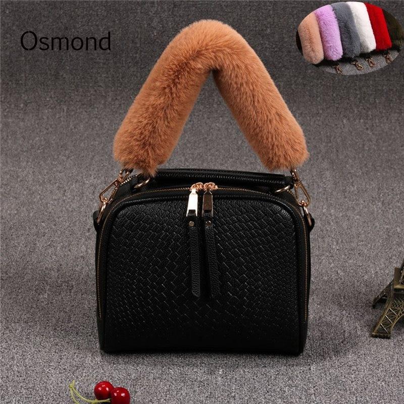 Osmond 40CM Short Handbag Strap Fur Bag Handle Replacement Bag Strap For Purse Belts DIY Bag Accessories Parts Gold Buckle 1pcs