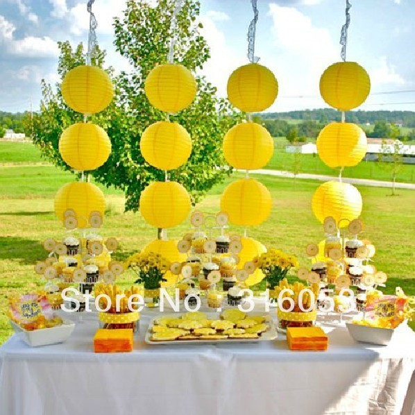 8 100pcs Yellow Color Party Solid Paper Lantern Wedding Decortions
