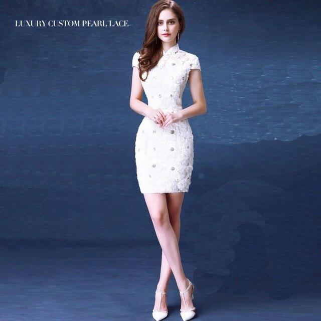 Weiß blumen schnüren kurze cheongsam kleider klassische würdevoll ...