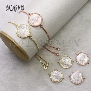 Image 3 - Pulsera de conchas para mujer, accesorios de piedras de concha, pulseras de joyería de cristal para mujer, joyería 5434, 10 piezas