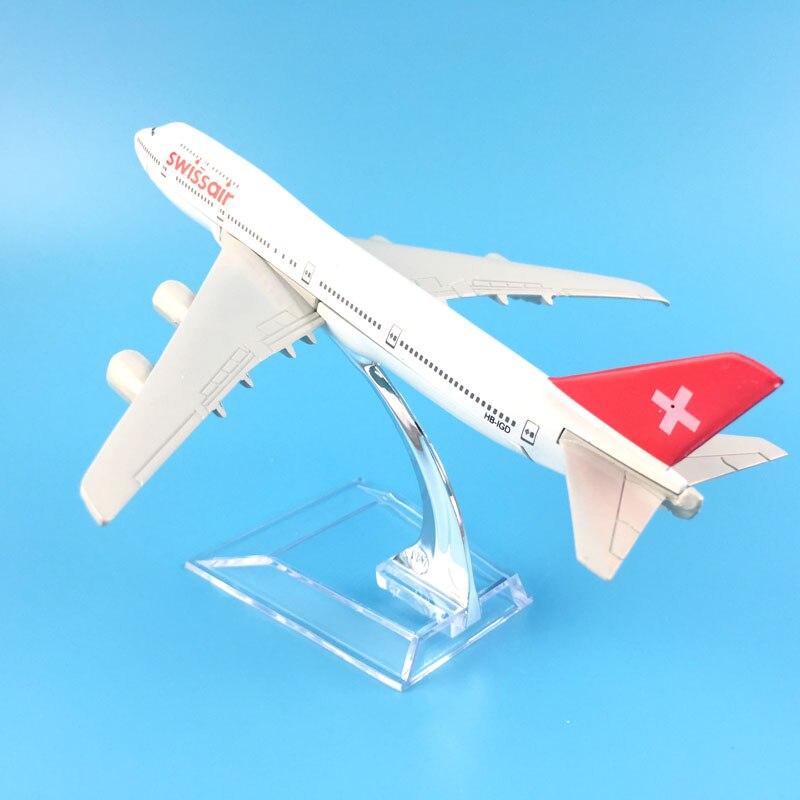 16cm BOEING 747 SWISS AIR AIRWAYS METAL PLANE MODELS AIRLINES TOYS AEROPLANE TOY