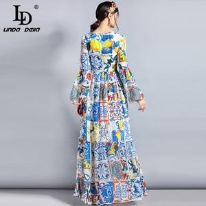 Image 5 - LD LINDA DELLA Fashion Designer Maxi Dress 5XL Plus size Womens Long Sleeve Boho Colorful Flower Print Casual Long Dress