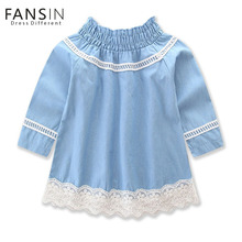 Fansin Brand 2017 Summ Embroidery Girls Dress Long-sleeved Denim Dresses For Wedding Party Girl Clothes Baby Children Costume