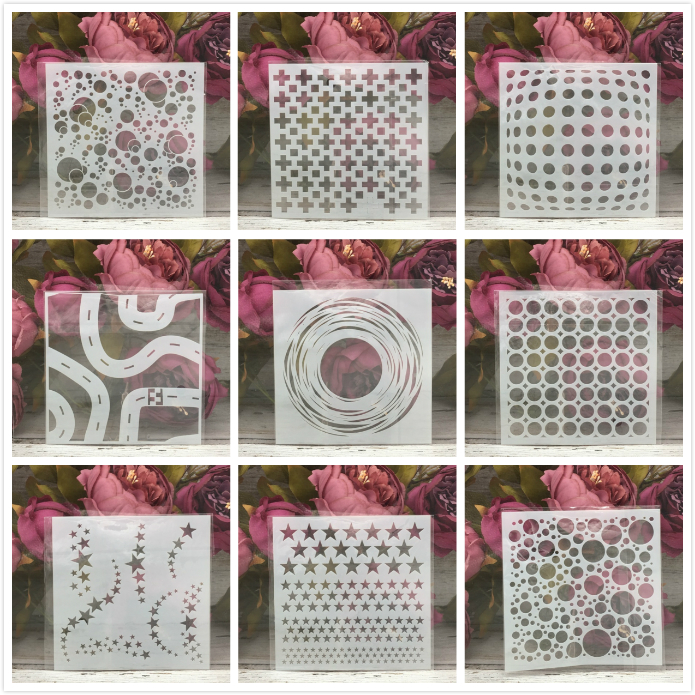 9Pcs 13*13cm Hole Line Geometry DIY Layering Stencils Painting Scrapbook Coloring Embossing Album Decorative Card Template