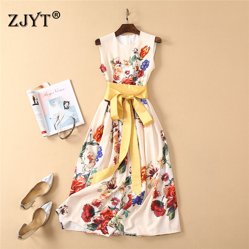 Top Fashion Designer Summer Runway Dress Women 2019 Fashion Sleeveless Lace Up Floral Print Mid Calf