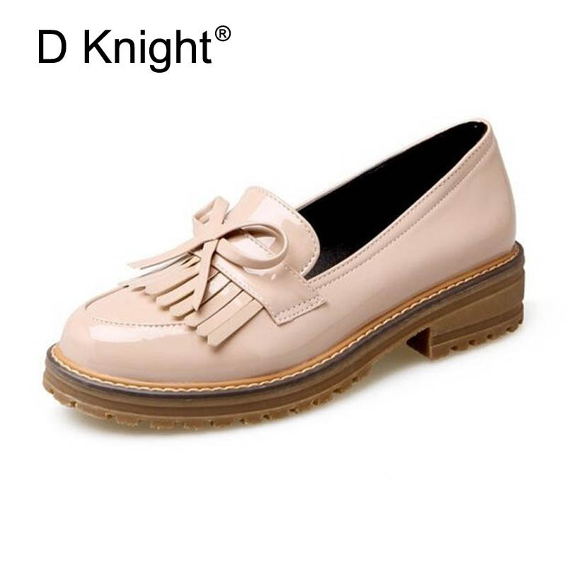 Tassel Bowknot Design Women Loafers Retro Round Toe Lady Shoes Slip-on Women Oxford Causal Flats Working Shoes Plus Size 34-43 retro tiny bell tassel anklet for women