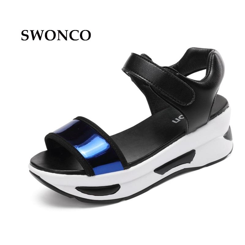 SWONCO Sieviešu sandales 2018 vasaras 5cm bieza vienlaidu atvērta - Sieviešu apavi
