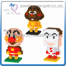 Full Set 3pcs/lot Mini Qute LNO Kawaii Anpanman Shokupanman Currypanman plastic movie building blocks model educational toy