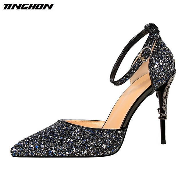 TINGHON New Summer Shoes Woman Sequined Cloth Women s Pumps Party Crystal  Shoes Silver Carved Metal Heel Wedding Shoes 5dbc7122e80