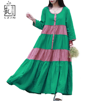 Autumn Bohemian Womens Long Summer Dresses 2015 Summer Autumn Casual Cotton Linen Country Style Dress Green