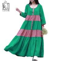 Autumn Bohemian Womens Long Summer Dresses 2015 Summer Autumn Casual Cotton Linen Country Style Dress Green