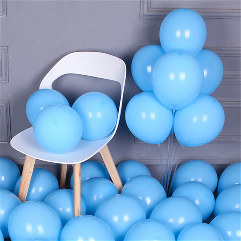 10pcs 12inch 2.2g Colorful <font><b>Big</b></font> <font><b>Latex</b></font> <font><b>Balloons</b></font> Helium Inflable Macaron Red <font><b>Balloon</b></font> Wedding Birthday Party Decorations Blue Ballon image