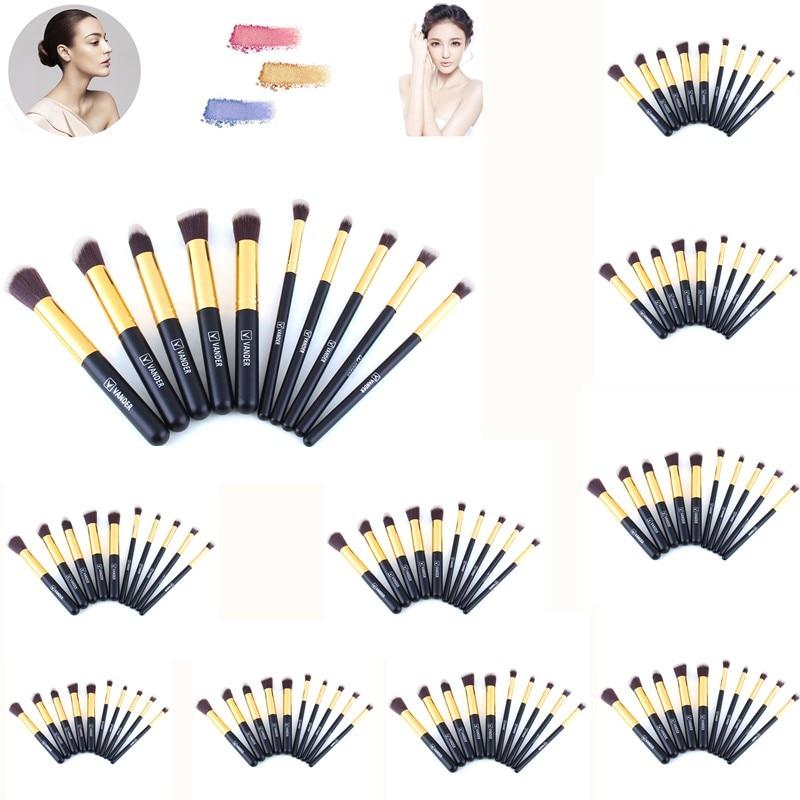 VANDER 10*10Pcs/Set Professional Makeup Brushes Cosmetic Kit Contour Blending Foundation/powder/concealer Makeup Tools iphuck 10