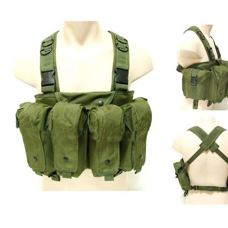 Militar Táctico Caza Pecho Rig Gran Capacidad Mag Carrier 7 Bolsillo Combate Airsoft Paintball Chaleco Ht130