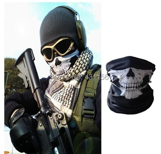 Black+White New Ski Sports Bike Bicycle Motorcycle Skull Half Face Monieering Mask Ghost Scarf Multi Use Neck Warmer Windproof