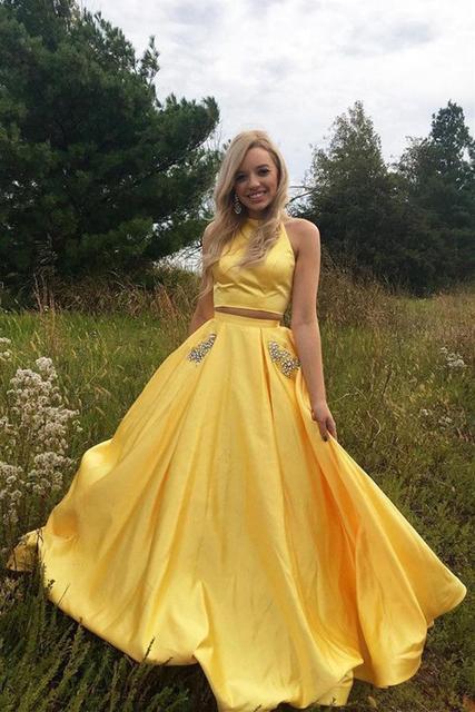 Yellow 2 Piece Prom Dress 2018 Evening Dress Open Back Evening Party