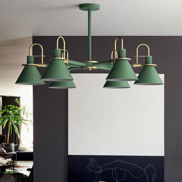 Nordic modern Macaron chandeliers 3/6 heads white black gree metal lampshade dining living room hanging chandelier light fixture