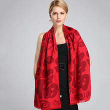 Luxury Chinese characters red silk scarves for women cashmere scarf winter spring long shawl wrap >175cm accessories
