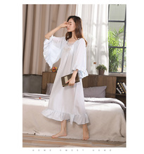 2019 New Maiden Home Clothes Women Nightgown Lace Collar Nightshirt Palace Princess Nightdress Indoor Clothing