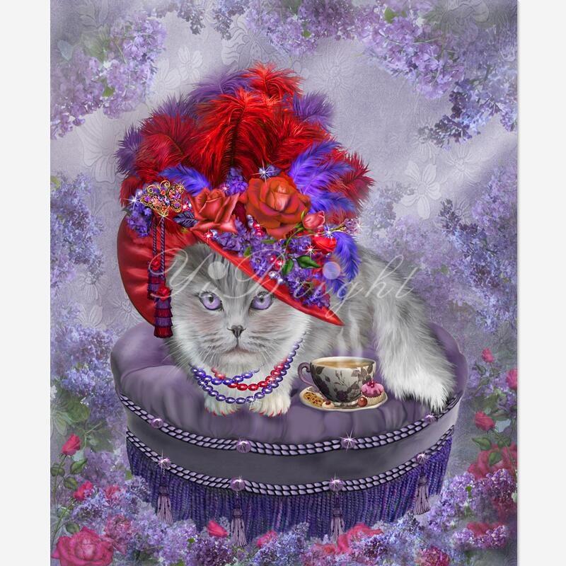 DIY diamante pintura gato en rojo Hat_PWD Cruz puntada bosque árbol costura decorativo cuadrado completo diamante bordado LRR