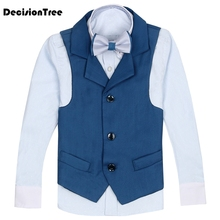 2019 new boys nimble vest suits for weddings kids prom blue formal wedding tuxedo children clothing set