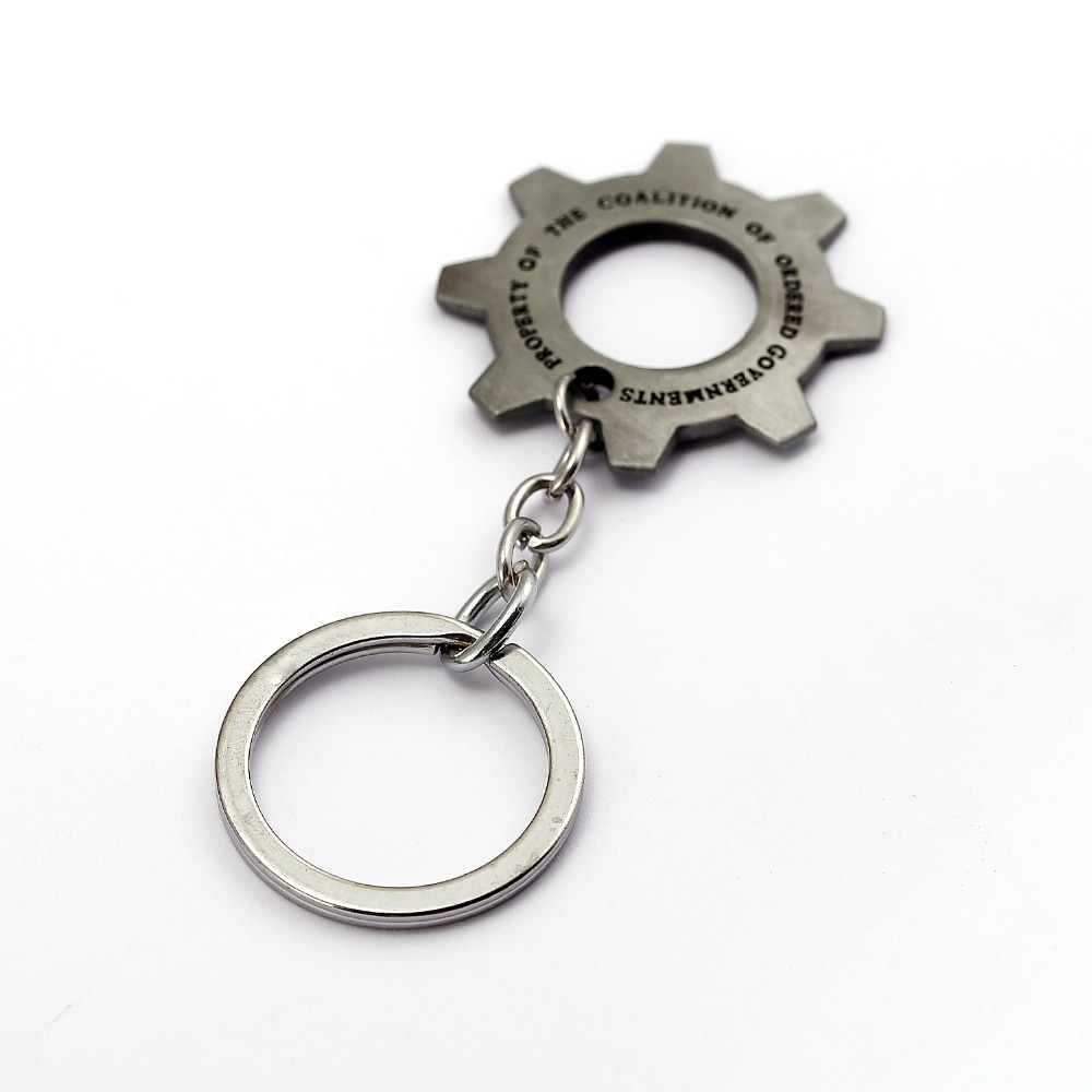 12pcs/lot Game Gears Of War Jewelry Keychain Gearwheel Chaveiro Sliver Key Chain Ring Llaveros Women Men Gift Jewelry Accessory