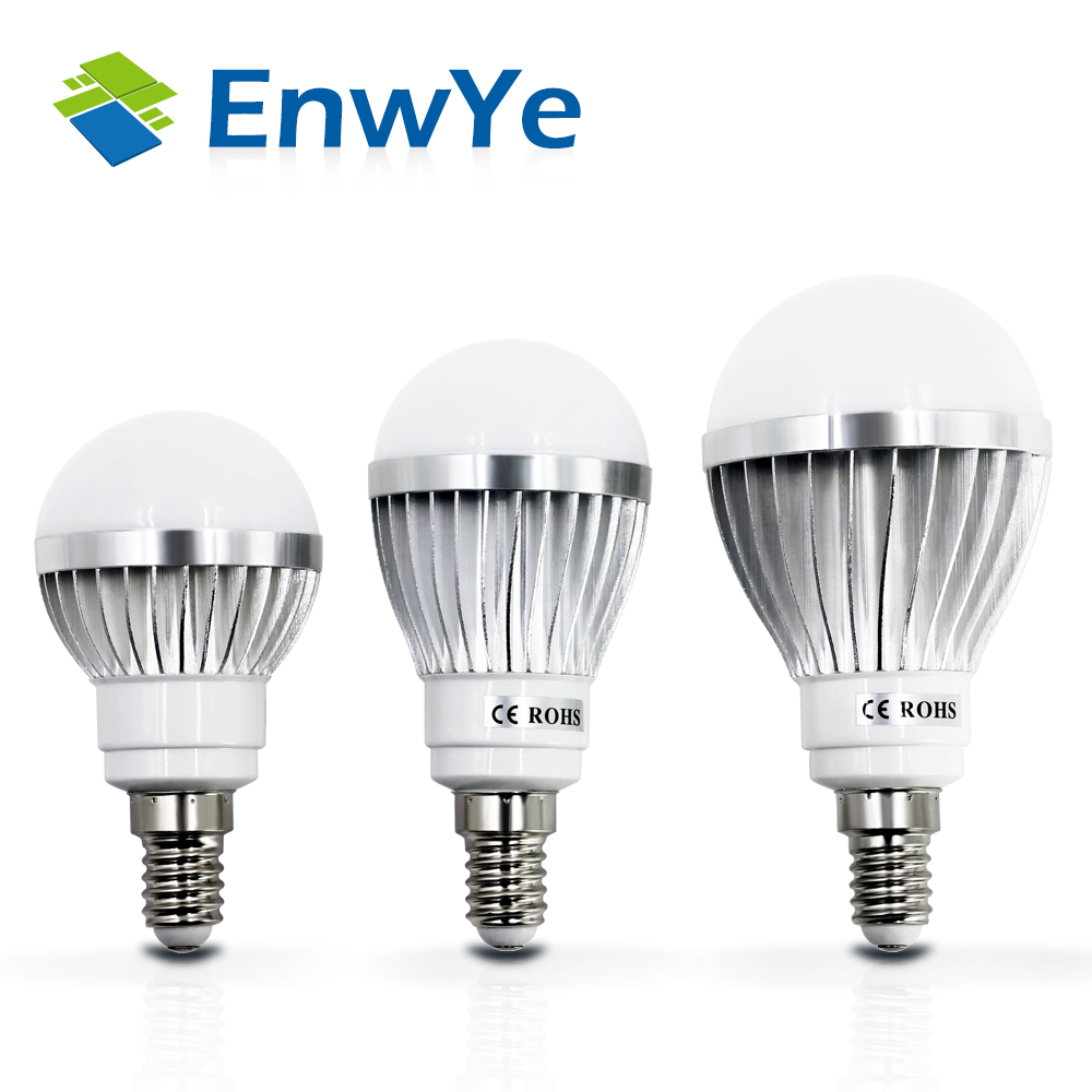 EnwYe LED Lamp Metallic E14 3W 5W 7W 9W 12W 15W 220V Real Watt LED Bulb Light Fast Heat Dissipation High Bright Lampada 14 15 3 2015
