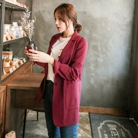 Cotton and Linen Suit Women Blazer 2018 Spring New Korean Leisure One Button Burgundy Medium Long Slim Notched
