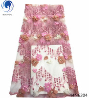 Beautifical pink tulle 3d fabric laces 3d embroidery beading lace applique 5 yards/lot 2018 new styles french net lace 3d 44N62