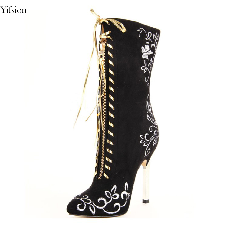 Fashion New Women Knee High Boots Embroider Sexy Thin High Heels Boots Pointed Toe Black Red Wedding Shoes Women US Size 4-10.5Fashion New Women Knee High Boots Embroider Sexy Thin High Heels Boots Pointed Toe Black Red Wedding Shoes Women US Size 4-10.5
