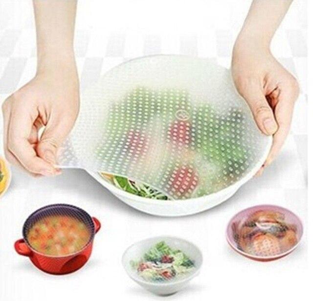 302a33a0f6 Multifunzionale Del Silicone Sigillo Alimentare Pellicola trasparente Vuoto  Mantenere Il Cibo Fresco Involucro di Plastica Stretch