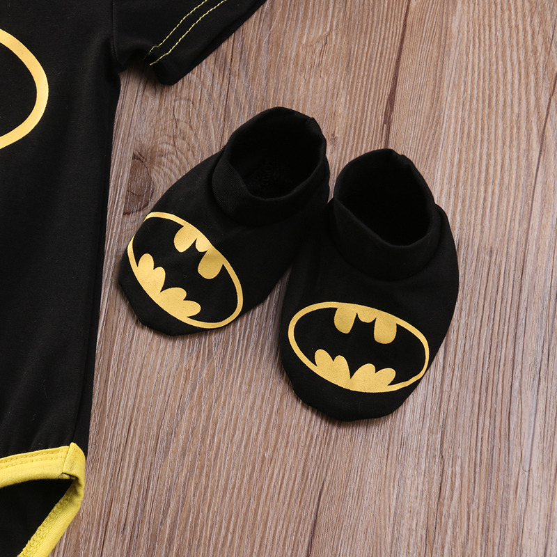 Summer Autumn Cute Batman Cotton Boys Rompers Printed Batman Baby Boys Clothes Rompers with Shoes Hat Black 0-24 Months 7