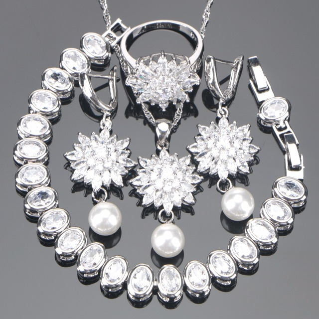 Bridal Costume White Cubic Zirconia Jewelry Sets