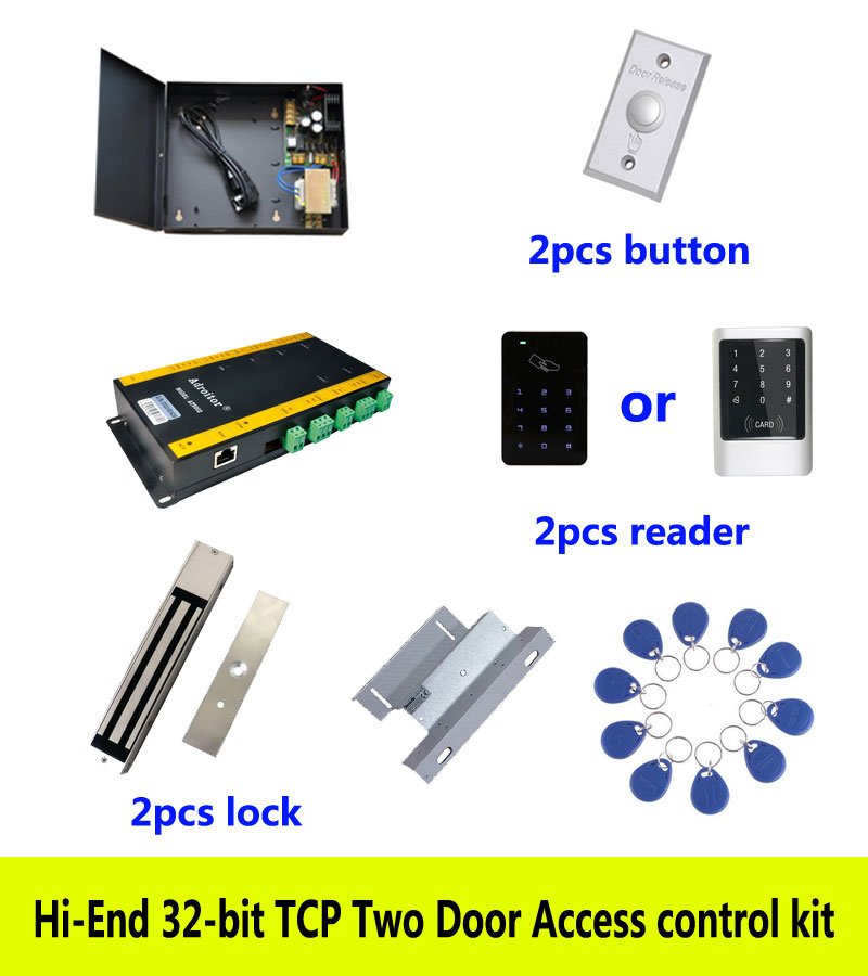 Hi-end access control kit,TCP two door+power+280kg magnetic lock+ZL-bracket+ID touch keypad reader+button+10 ID tag,sn:kit-AT208