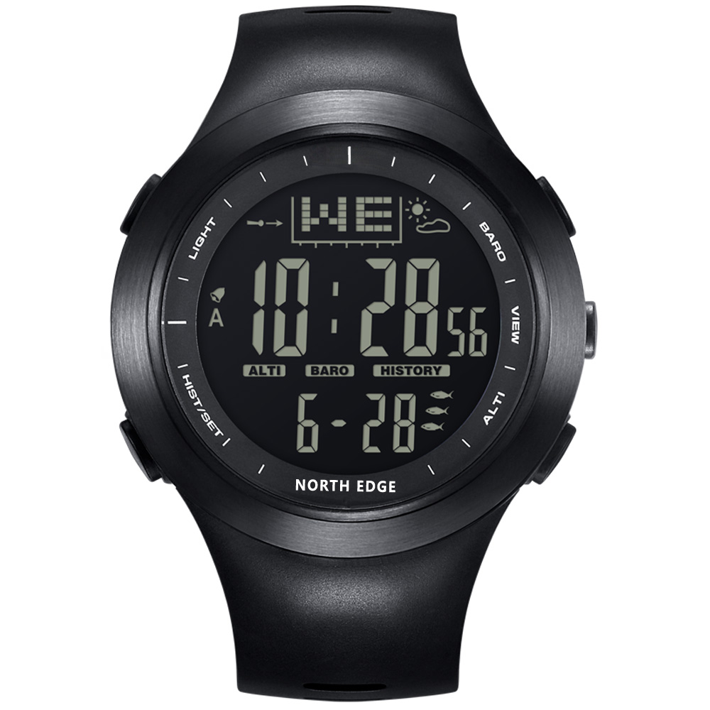 NORTH EDGE Men Digital Watches Outdoor watch 10ATM Fishing Weather Altimeter Barometer Thermometer Altitude Climbing Hiking Hour ezon altimeter barometer thermometer compass weather forecast men digital watches sport outdoor fun climbing hiking wristwatch