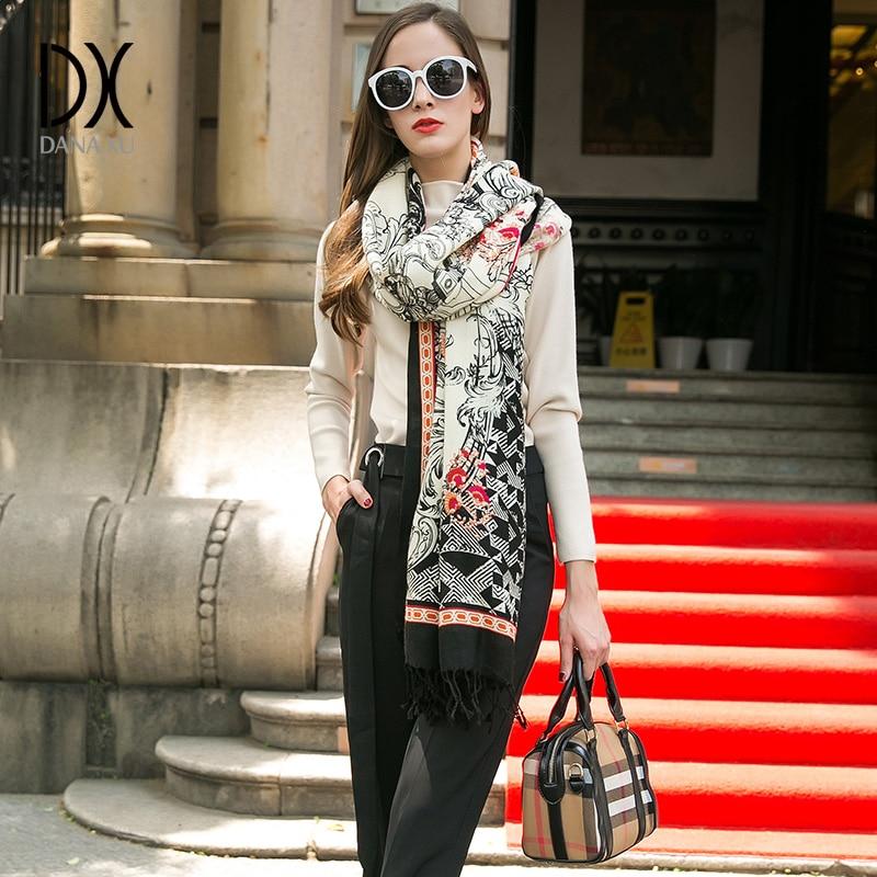 جديد أزياء الشتاء وشاح للنساء والأوشحة الدافئة شالات الفاخرة التفاف منقوشة بطانية وشاح الصوف الكشمير الفولار وجه الدرع