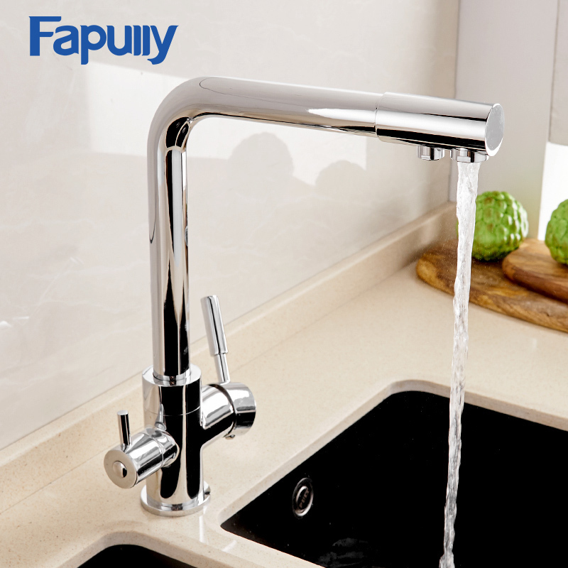 Fapully Purification Kitchen Faucets Deck Mounted 360 Degree Rotation Mixer Tap One Hole Hot and Cold Mixer Tap For Kitchen
