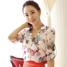 Nice New Blusas Women's  Flower Printing Blouse Turn-down Collar Chiffon Shirts  152141
