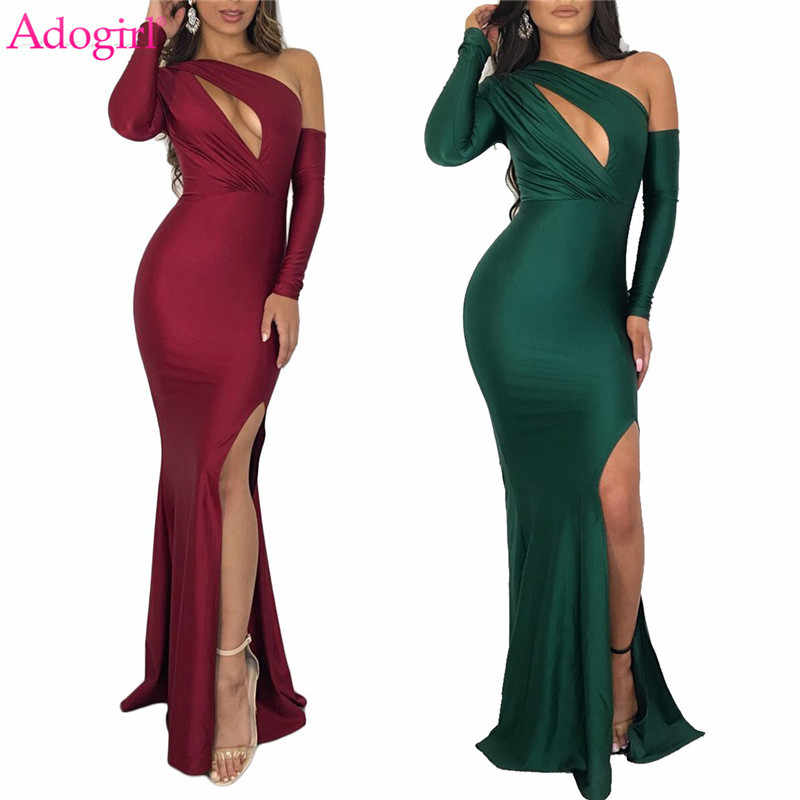 Adogirl Women Sexy Evening Party Dresses Hollow Out One Shoulder Long Sleeve High Slit Bodycon Maxi Dress Night Club Outfits