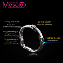 Meselo Alloy Metal Magnet Cockring Penis Delay Ejaculation Ring Sex Toys Male Chastity Device Adjustable Sex Toys For Men 3 Size