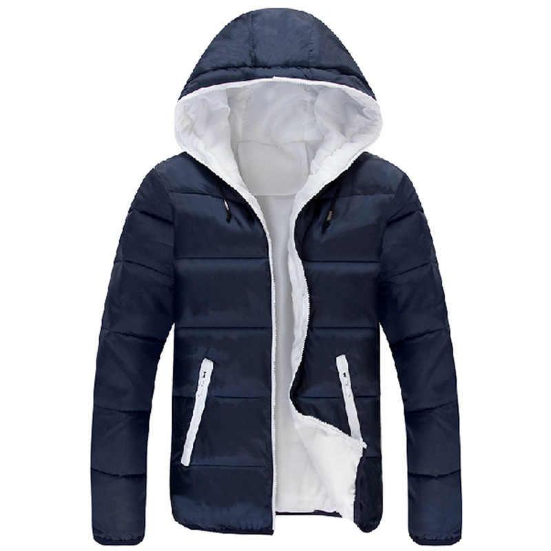 Качественные мужские куртки, зимняя повседневная верхняя одежда, ветровка Jaqueta Masculino, однотонное приталенное пальто с капюшоном, Homme, большие размеры S-5XL