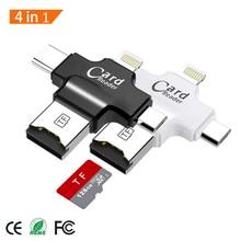4 in 1 lettore di Schede di Tipo C Adattatore Micro USB TF Micro SD Card Reader per Android ipad/iphone 7 più 6s5s MacBook