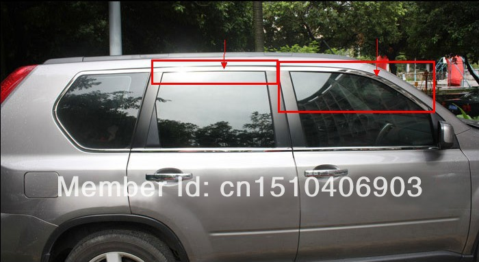 For Nissan X-Trail 2008 2009 2010 2011 2012 2013 Stainless steel Upper Window frame sill trim 4pcs Car decoration high quality aluminum canvas black rear cargo cover fit for nissan x trail 2008 2009 2010 2011 2012 2013