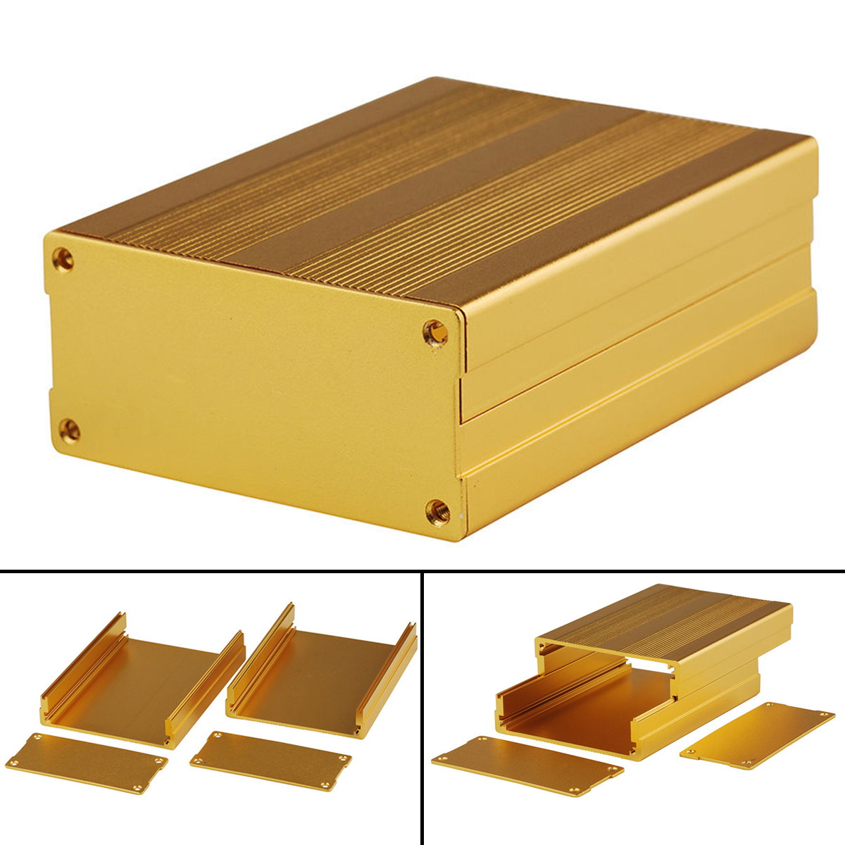 Gold Extruded Aluminum Enclosure Electronic Project Amplifier Circuit Board Box Case 100x76x35mm 3206 amplifier aluminum rounded chassis preamplifier dac amp case decoder tube amp enclosure box 320 76 250mm