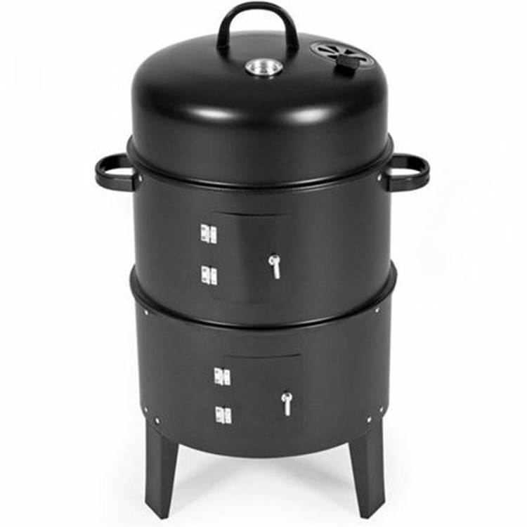 Image 2 - Metal 3 in 1 BBQ Grill Roaster Smoker Steamer Barbecue Grill 