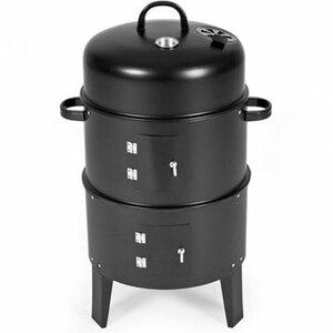 Image 2 - Metal 3 in 1 barbekü ızgara kavurma sigara içen vapur barbekü ızgara taşınabilir açık kamp kömür sobası pişirme araçları aksesuarları