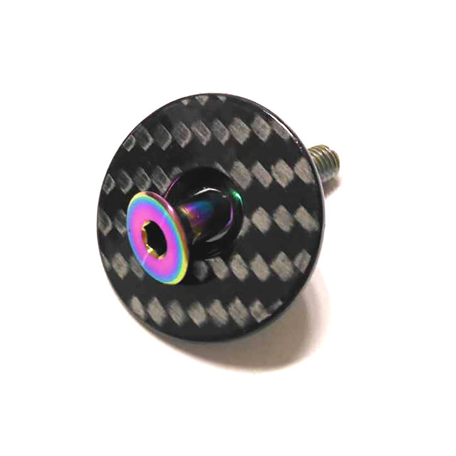 """Bike Superlight 7g Carbon Bicycle Stem Top Cap with Ti Screw For 28.6mm 1 1/8"""" Steerer Fork Tube Caps Headset Cap Cover"""