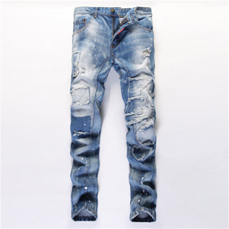 ФОТО 2017 New Tattered Spray Paint Patchwork Ripped Jeans Fashion Slim Fit Distressed Jeans Light blue Denim