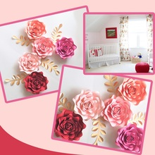 DIY Paper Flowers Leaves Nursery Set For Baby Girl Wall Art Kids Room Decoration Decor Floral Rose Deco