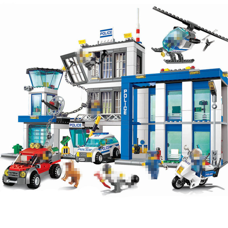StZhou Police Station Building Blocks 870pcs Bricks Helicopter Motorcycle Toys Compatible famous brand Birthday Gift 870pcs city police station big building blocks bricks helicopter boys toys birthday gift toy brinquedos compatible with legoing